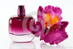 A closeup of a pink perfume bottle and orchid