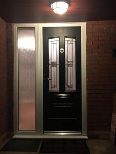 A Black Illinois fitted with Empire glass. Green Front Doors, Back Doors, Composite Door, Front Door Design, French Doors, Illinois, Entrance, Porch, Empire