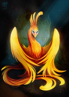 Phoenix by VixieArts.deviantart.com on @deviantART ~ I love the sharp edges. Most phoenix are a blur of flames and motion. This one is cute and so ladylike.