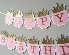 SALE! Pink and Gold First Birthday Banner. Princess birthday banner. Princess birthday party decor