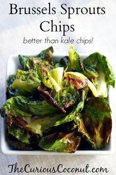 Brussels Sprouts Chips - brussels sprouts, fat of choice, salt, lemon juice/lemon or lime zest/black pepper (optional)