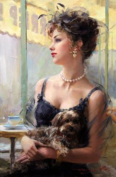 """"""""""" A lovely Lady Portrait """" a beautiful oil painting . """" Lovely Lady in Black,"""" … adorned with a white pearl necklace… for a hint of colour so becoming. by: Konstantin Razumov. Portraits, Painted Ladies, Foto Art, Woman Painting, Painting Art, Beautiful Paintings, Belle Photo, Figurative Art, Female Art"""