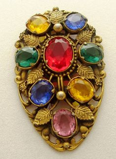 Art Deco Period Jewelry: Large Gilt Multi Colored Ornate Vintage Brooch Fur Clip