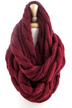 Maroon Cable Knit Infinity Scarf