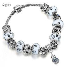 d2ad934edb12 Regalo Accesorios de Cristal Blanco QIAMNI Granos Pendientes de Bracelet    Bangles de La Pata de