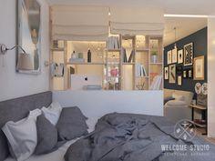 Salas de estar escandinavas por мастерская дизайна welcome studio escandinavo Small Apartment Layout, Studio Apartment Layout, Modern Apartment Decor, Small Apartment Living, Studio Apartment Decorating, Tiny Studio Apartments, Modern Apartments, Small Room Design, Minimalist Apartment