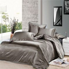 7 Piece Gray Silky Satin Duvet Cover Sheet Zipper Closure Set Queen Size  #LinenPlus