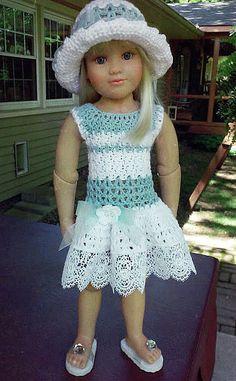 Bleu clair et blanc au crochet robe & chapeau for Kidz