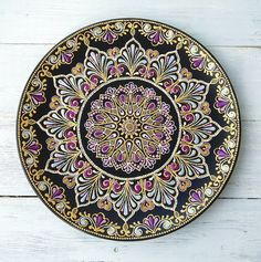 This Pin was discovered by нат Mandala Art, Mandala Painting, Mandala Pattern, Mandala Design, Hand Painted Dishes, Painted Plates, Pottery Painting Designs, Flower Henna, Dot Art Painting