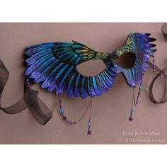 Dusk Raven Mask - Leather Raven Wings - Fantasy Bird Masquerade Costume Mask with Dangling Beads