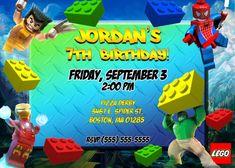 Lego Marvel Birthday Invitation | Kustom Kreations Barbie Birthday Invitations, Dinosaur Birthday Invitations, Printable Birthday Invitations, Lego Banner, Lego Ninjago, Invitation Card Printing, Luau Birthday, Birthday Greeting Cards, Easy