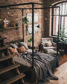 Bohemian Bedroom And Bedding Design Bohemian Bedroom And Bedding Des. - Bohemian Bedroom And Bedding Design Bohemian Bedroom And Bedding Design Best Picture Fo - Dream Rooms, Dream Bedroom, Home Bedroom, Loft Style Bedroom, Nature Bedroom, Modern Bedroom, Dark Cozy Bedroom, Bedroom Wall, Loft Bedroom Decor