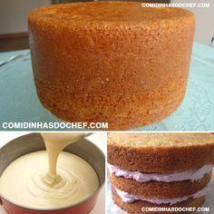 Se vai fazer um aniversário e precisa de uma receita de bolo para rechear, vou te passar a melhor de todas. Você vai aprender como fazer a receita de bolo para rechear com um modo de preparo simples. Esse bolo é ideal para fazer bolo de andares, confeitados e pode fazer coberturas, como ganache, glacê e pasta americana Food Cakes, Sponge Cake Recipes, Pasta, Cornbread, Vanilla Cake, Italian Recipes, Baked Goods, Food And Drink, Pudding