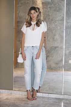 Look do dia Jeans e Branco bobstore