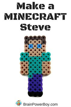 Perler Bead Pattern: Steve Make a Minecraft Steve! Part of a series of perler bead patterns for Minecraft lovers.Make a Minecraft Steve! Part of a series of perler bead patterns for Minecraft lovers. Minecraft Beads, Minecraft Pattern, Minecraft Crafts, Minecraft Party, Perler Bead Designs, Diy Perler Beads, Perler Bead Art, Melty Bead Patterns, Pearler Bead Patterns