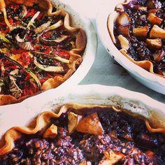 One Tomato, Mushroom, Spring Onion Tart; Two Pear, Blueberry, Apple, Chocolate Tarts.  Found on instagram.com via Tumblr