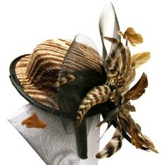 Brown Zebra Print Fascinator Cocktail Boater Hat Headband Jeanne Simmons. $38.99