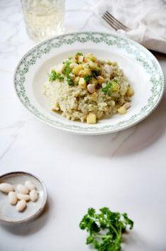 Pastinaakrisotto met wittebonenroom · EVA maakt het plantaardig