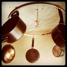 Upcycled bike rim hanging pot holder