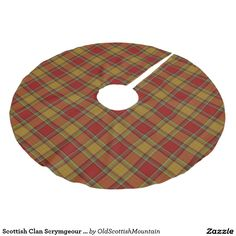 Scottish Clan Scrymgeour Orange Red Tartan Brushed Polyester Tree Skirt