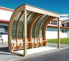 Elements Bus Shelter Finalist in Timber Design Awards Bike Shelter, Bus Shelters, Timber Structure, Shade Structure, Urban Furniture, Street Furniture, Furniture Online, Metal Furniture, Discount Furniture