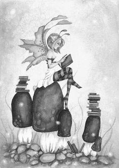 fairy reading on top of mushrooms.