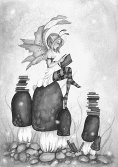 fairy reading on top of mushrooms.