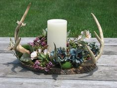 Items similar to Deer Antler Centerpiece - MADE TO ORDER Rustic Flower Arrangement Camo Wedding Centerpiece Rustic Lodge Decor Man Cave Decor Real Antlers on Etsy Rustic Deer Antler Flower by TheVineDesigns on Etsy<br> Camo Wedding Centerpieces, Wedding Table Flowers, Flower Centerpieces, Wedding Tables, Centerpiece Ideas, Hunting Wedding, Deer Wedding, Antler Wedding Decor, Wedding Ideas