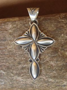 Navajo Indian Sterling Silver Hand Stamped Cross Pendant! by Lee