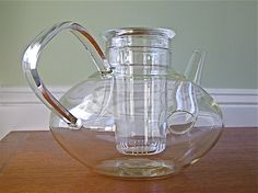 Vintage Schott Mainz Jena Glass Teapot with Infuser. $42.00, via Etsy.