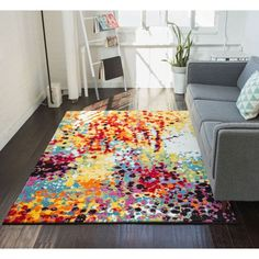 Well Woven Modern Bright Paint Splash Abstract Multi Area Rug 7 10 X 9