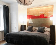 giant wall painting above the head part of the bed. with actual furniture/decor of the sailboat in the painting. Interior Design Inspiration, Bedroom Inspiration, Home Look, Home Bedroom, Furniture Decor, Man Cave, Minimalism, House Design, Masculine Bedrooms