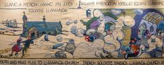 In 1797 the last ever invasion of Britain took place, a French force landed near Fishguard in Pembrokeshire. The story is told in the embroidered tapestry. Pembrokeshire Wales, Aqa, Cymru, Storytelling, Britain, Vintage World Maps, Tapestry, Fine Art, French