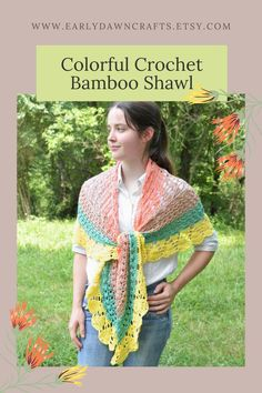 This large, colorful shawl was carefully crocheted by hand! It is casual enough for everyday and dressy enough for a party or night out! Made with 100% bamboo fiber, this shawl scarf has gorgeous sheen and drape! The shawl has a lacy look with a variety of interesting stitches. It also features bands of color changing from salmon pink to tan to teal blue to sunny yellow. You can wear this shawl with everything you like, in every season. It is sure to draw attention! Teal Blue, Pink, Yellow, Crescent Shawl, Kerchief, Shawls And Wraps, Hand Crochet, Color Change, Night Out