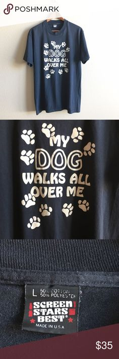 "80s / Dog Mom Tee Super soft ""My Dog Walks All Over Me"" novelty tee with cute little paw prints 🐾  BRAND: Screen Stars MATERIAL: 50/50 YEAR/ERA: 80s LABEL SIZE: L BEST FIT: M/L  MEASUREMENTS: Chest 20 inches Length 28 inches  🚫 I do not model or trade, sorry! 💟 Check out my closet for more vintage!     0082 Vintage Tops Tees - Short Sleeve"