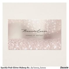 Sparkly Pink Glitter Makeup Artist Beauty Studio Business Card Source by