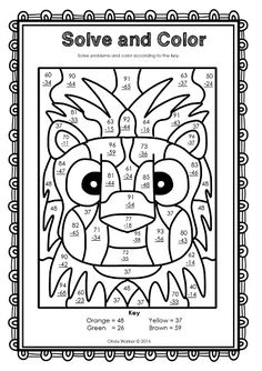 Double-Digit Addition Coloring Worksheets | Monsters ~ Double ...