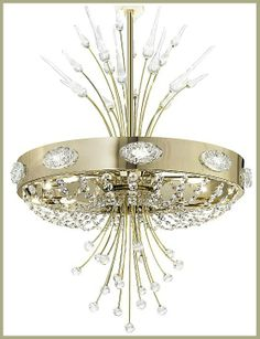 "Gold and Swarovski crystal ""Elegance"" chandelier by Dolce Vita, £3,466.32. For more information please visit: http://www.italian-lighting-centre.co.uk/fine-italian-chandeliers/gold-swarovski-crystal-elegance-chandelier-dolce-vita-p-4070.html"