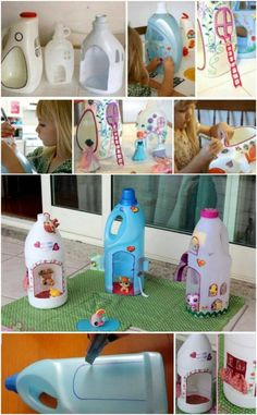 25 Fun And Creative Ways To Upcycle Empty Laundry Detergent Bottles - DIY & Crafts Plastic Bottle Crafts, Recycle Plastic Bottles, Pill Bottles, Kids Crafts, Craft Projects, Detergent Bottle Crafts, Homemade Detergent, Diy Dollhouse, Recycled Crafts
