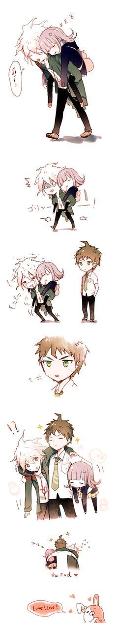 Super Danganronpa 2: Hinata carries Nanami and Komaeda