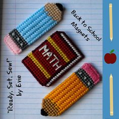Plastic Canvas Back to School Magnets, set of 2 pencils and 1 book -- ReadySetSewbyEvie, $5.00