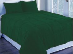"""4Pc 18"""" D.Pkt Dark Green Olympic Queen Corduroy Quilted Duvet Cover Bedding Set"""