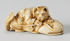 An ivory netsuke of a spotted cat on a namazu. Late 19th century     Dressed in a kimono tied with a wide belt the cat crouches on a catfish with upturned tail, holding the long whiskers like reigns.   Height 2.1 cm; length 4.6 cm