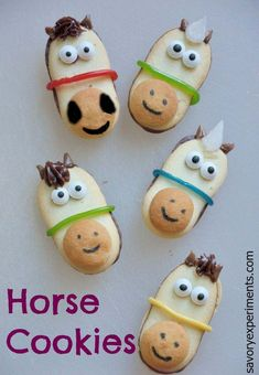These are really cute.  But I think I would make the noses look a little less like smiley faces (see upper left cookie). However now it look a little like an alien face. Super cute and easy either way.