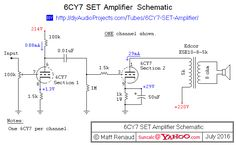 Schematic - 6CY7 Single-Ended Triode (SET) Stereo Amplifier
