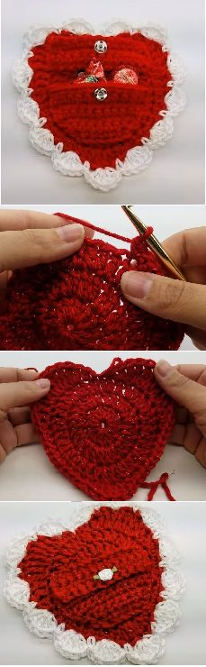 Crochet Valentines Day Pouch