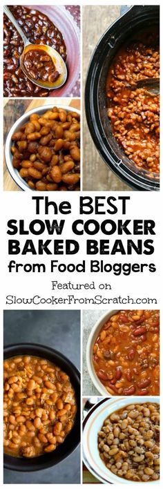 Here are The BEST Slow Cooker Baked Beans from Food Bloggers; this tasty collection has beans with ham, sausage, and bacon, vegetarian and vegan baked beans, and slow cooker baked beans with interesting seasonings like Sriracha, maple syrup, and bourbon! There's a bean recipe here for everyone, and making baked beans in the crock-pot will keep your kitchen cool when it's hot outside! [found on SlowCookerFromScratch.com]
