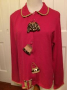 Michael Simon Event Pink Embellished Buttons Fun Sweater Size Large | eBay
