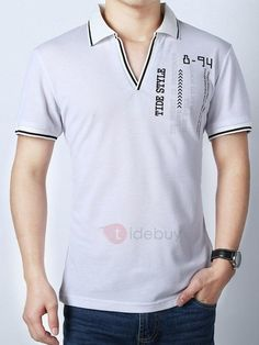 #TideBuy - #TideBuy Double Pattern Collar Short Sleeve Mens Polo - AdoreWe.com