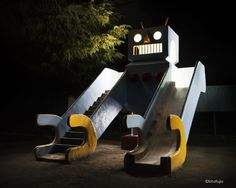 Surreal Photos Of Japanese Playground Equipment At Night By Kito Fujio Wish Kids, Park Equipment, Microscopic Photography, Metal Slide, Surreal Photos, Colossal Art, Grid Design, Mixed Grill, Surrealism